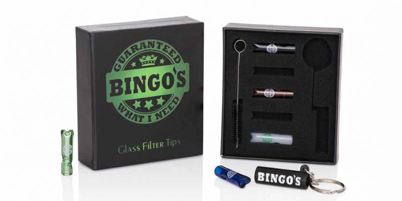 Bingos Glass FIlter Tips Box plus FREE keychain and FREE Cleaning Brush Tool