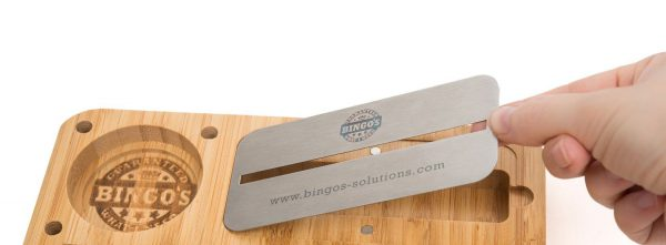Bingos Smart Bamboo Rolling Tray Metal Lid Cover Image model EASY