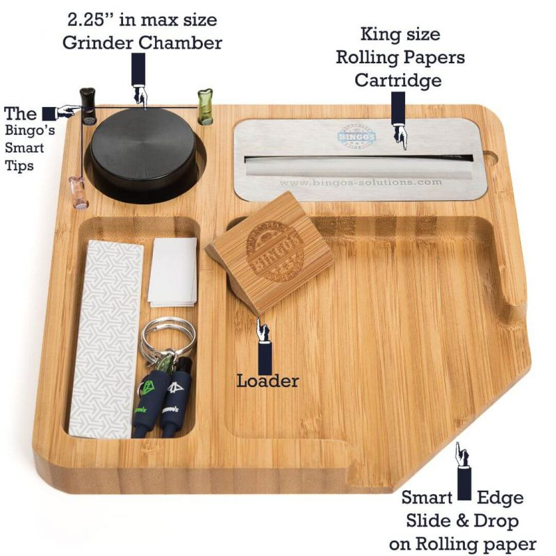 Bingo's Bamboo Rolling tray description comfort, rolling paper cartridges, grinder chamber, joint / glass tips holder